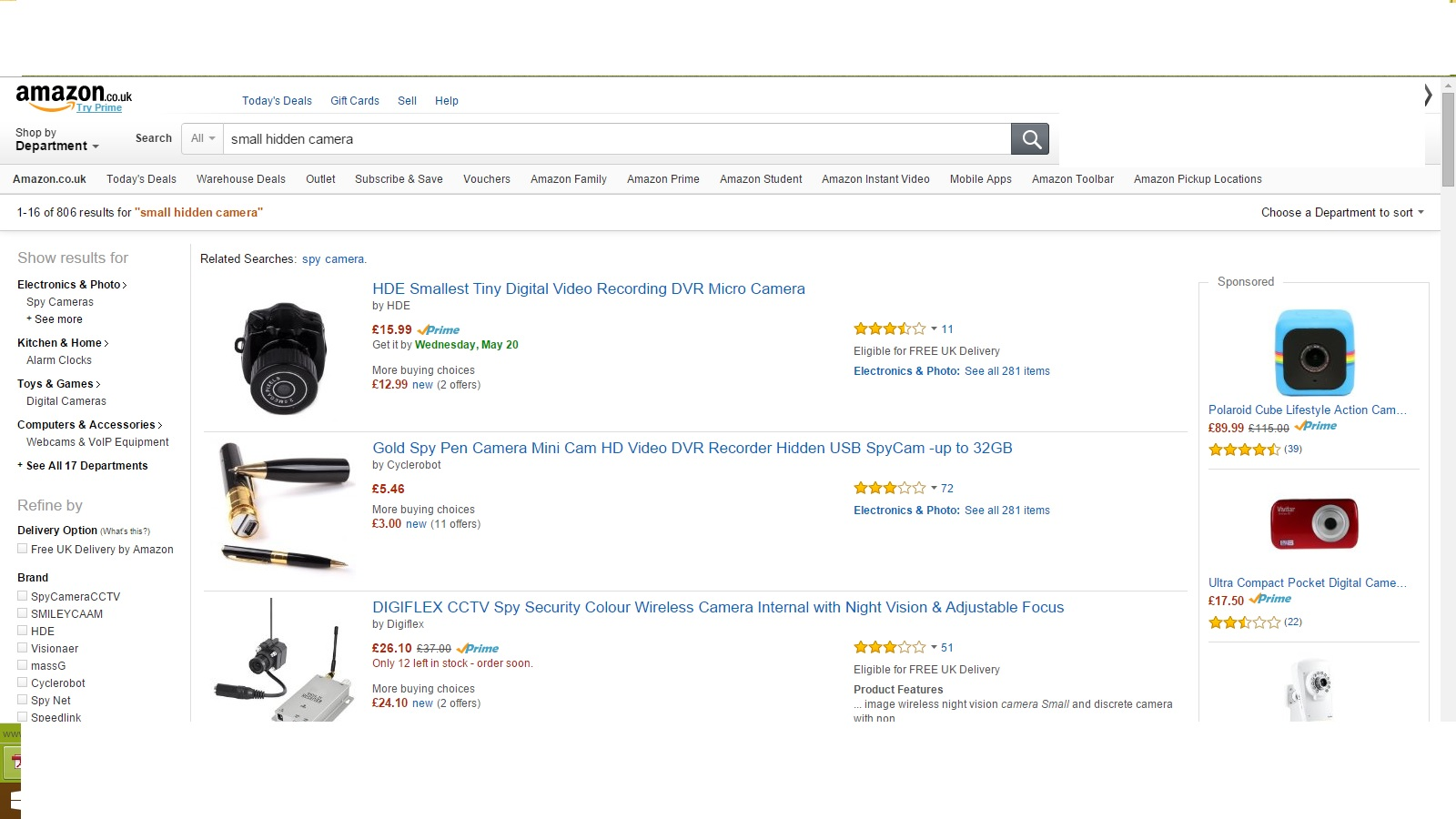 Just a snapshot of covert hidden cameras that are available on a popular shopping site