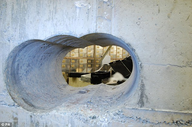 """The hole in the wall created by the """"Pensioner Burglars"""" in Hatton Garden raid"""
